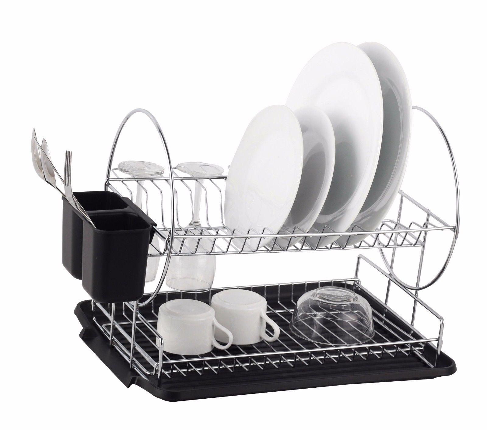 fea987b4d8e1 Deluxe Chrome-plated Steel 2-Tier Dish Rack with Drainboard / Cutlery Cup  (BlackII)