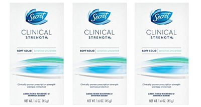 Secret Clinical Strength Smooth Solid Women's Antiperspirant & Deodorant,  Sensitive Hypoallergenic - 1 6 Ounce (Pack of 3)